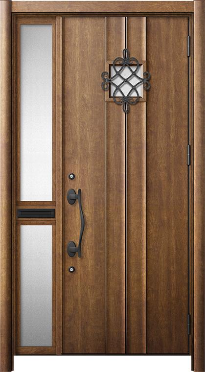 玄関ドア リシェント3 断熱仕様 K2 D77型 片袖中桟付ポスト付ドア W:1,013~1,336mm × H:1,739~2,039mm リクシル トステム