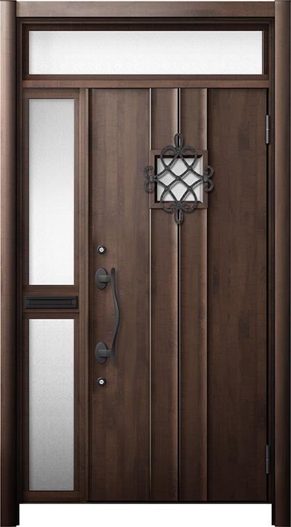 玄関ドア リシェント3 断熱仕様 ランマ付 K4 D77型 片袖中桟付ポスト付ドア W:1,013~1,336mm × H:1,974~2,300mm リクシル トステム