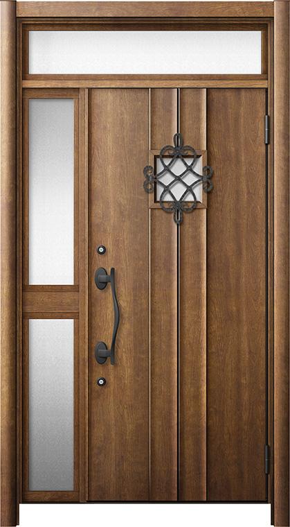 玄関ドア リシェント3 断熱仕様 ランマ付 K4 D77型 片袖中桟付ポスト無ドア W:1,013~1,336mm × H:2,301~2,600mm リクシル トステム