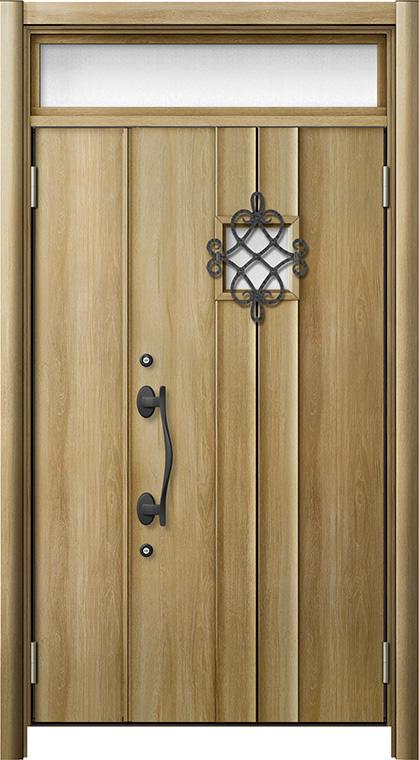 玄関ドア リシェント3 断熱仕様 ランマ付 K4 D77型 親子ドア W:1,201~1,480mm × H:1,974~2,039mm LIXIL リクシル TOSTEM トステム