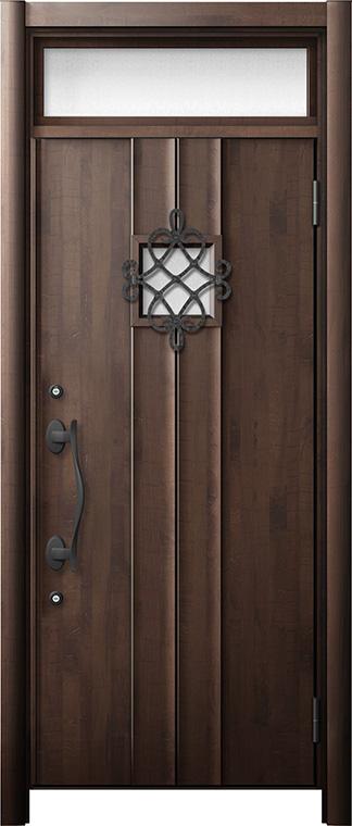 玄関ドア リシェント3 断熱仕様 ランマ付 K2 D77型 片開きドア W:714~864mm × H:1,974~2,300mm LIXIL リクシル TOSTEM トステム
