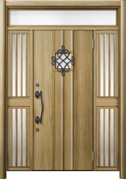 玄関ドア リシェント3 断熱仕様 K4 D77型 両袖ランマ付飾り中桟付ポスト無 W:1,030~1,695mm × H:2,301~2,600mm リクシル トステム