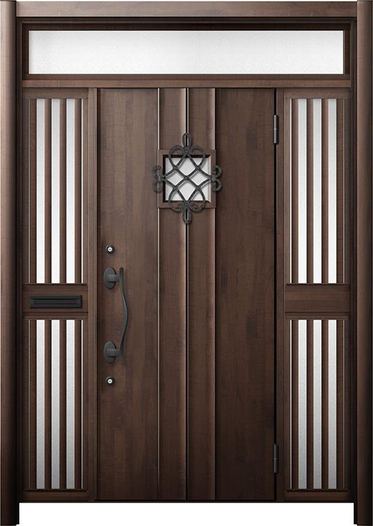 玄関ドア リシェント3 断熱仕様 K2 D77型 両袖ランマ付飾り中桟付ポスト付 W:1,530~1,695mm × H:1,974~2,300mm リクシル トステム