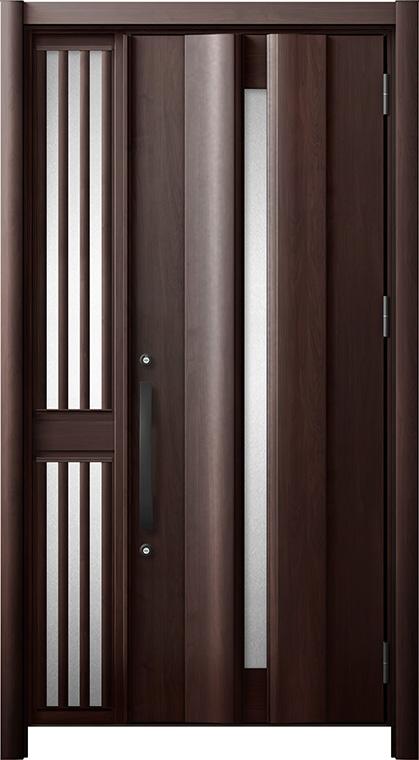 玄関ドア リシェント3 断熱仕様 K2 G12型 片袖飾り中桟付ポスト無ドア W:1,063~1,336mm × H:2,040~2,439mm リクシル トステム