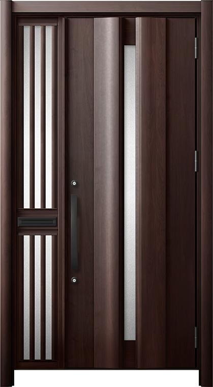 玄関ドア リシェント3 断熱仕様 K2 G12型 片袖飾り中桟付ポスト付ドア W:1,063~1,336mm × H:1,739~2,039mm リクシル トステム