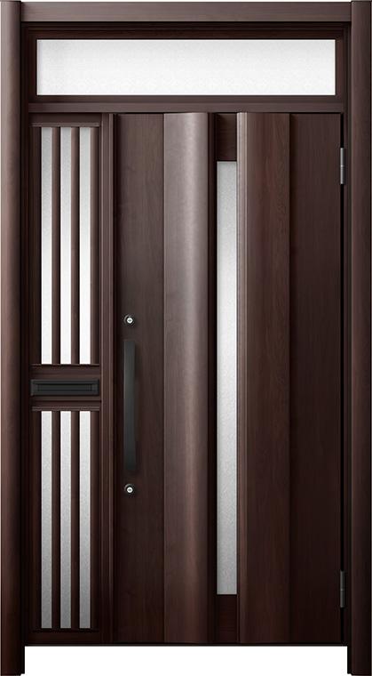 玄関ドア リシェント3 断熱仕様 ランマ付 K4 G12型 片袖飾り中桟付ポスト付ドア W:1,063~1,336mm × H:2,301~2,600mm リクシル トステム