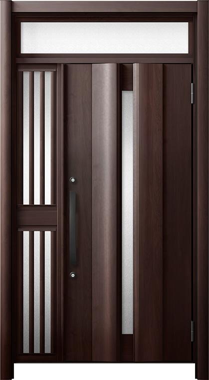 玄関ドア リシェント3 断熱仕様 ランマ付 K4 G12型 片袖飾り中桟付ポスト無ドア W:1,063~1,336mm × H:1,974~2,300mm リクシル トステム