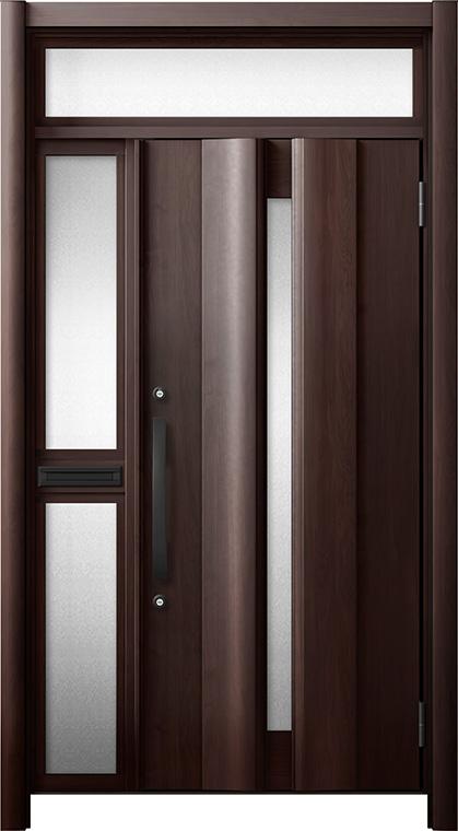 玄関ドア リシェント3 断熱仕様 ランマ付 K4 G12型 片袖中桟付ポスト付ドア W:1,063~1,336mm × H:2,301~2,600mm リクシル トステム