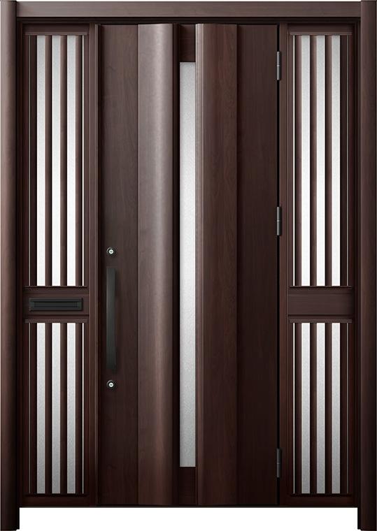 玄関ドア リシェント3 断熱仕様 K2 G12型 両袖飾り中桟付ポスト付 W:1,370~1,695mm × H:1,739~2,039mm リクシル トステム