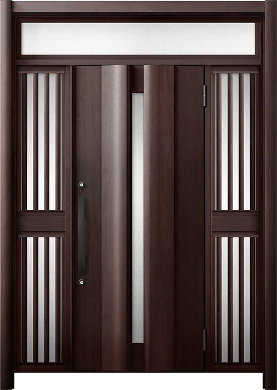玄関ドア リシェント3 断熱仕様 K2 G12型 両袖ランマ付飾り中桟付ポスト無 W:1,080~1,695mm × H:2,301~2,600mm リクシル トステム