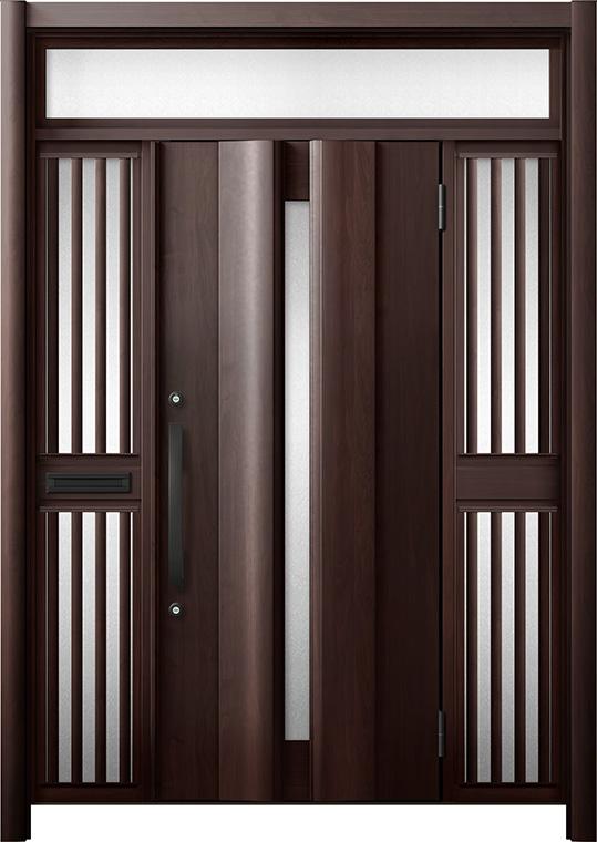 玄関ドア リシェント3 断熱仕様 K2 G12型 両袖ランマ付飾り中桟付ポスト付 W:1,370~1,695mm × H:2,301~2,600mm リクシル トステム