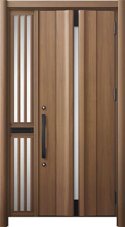 玄関ドア リシェント3 断熱仕様 K2 G13型 片袖飾り中桟付ポスト付ドア W:1,063~1,336mm × H:2,040~2,439mm リクシル トステム