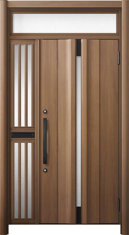 玄関ドア リシェント3 断熱仕様 ランマ付 K4 G13型 片袖飾り中桟付ポスト付ドア W:1,063~1,336mm × H:2,301~2,600mm リクシル トステム