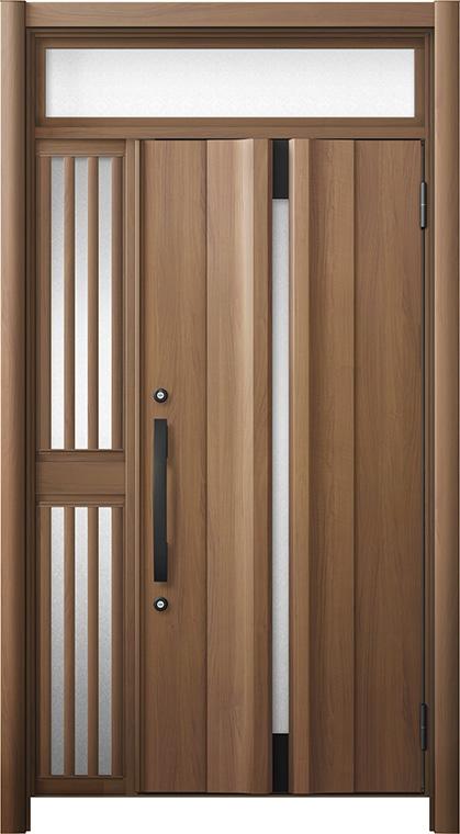 玄関ドア リシェント3 断熱仕様 ランマ付 K4 G13型 片袖飾り中桟付ポスト無ドア W:1,063~1,336mm × H:1,974~2,300mm リクシル トステム