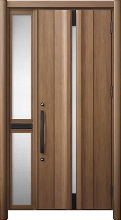 玄関ドア リシェント3 断熱仕様 K2 G13型 片袖中桟付ポスト付ドア W:1,063~1,336mm × H:1,739~2,039mm リクシル トステム