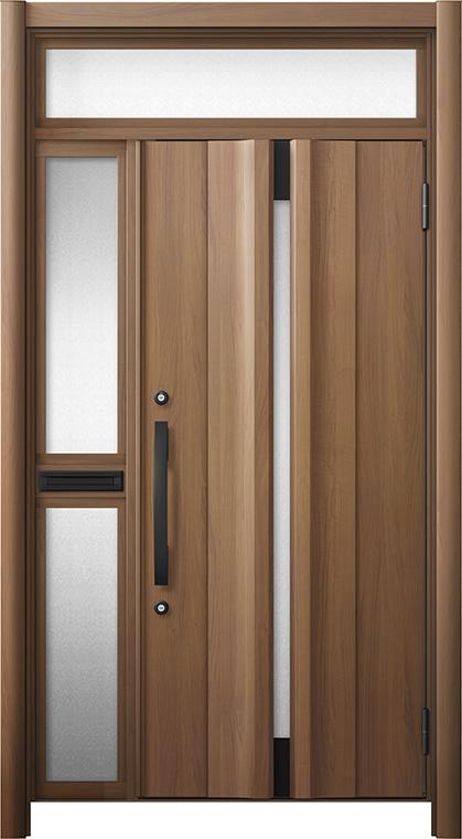 玄関ドア リシェント3 断熱仕様 ランマ付 K4 G13型 片袖中桟付ポスト付ドア W:1,063~1,336mm × H:2,301~2,600mm リクシル トステム