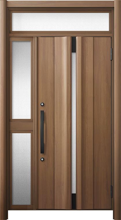 玄関ドア リシェント3 断熱仕様 ランマ付 K4 G13型 片袖中桟付ポスト無ドア W:1,063~1,336mm × H:1,974~2,300mm リクシル トステム
