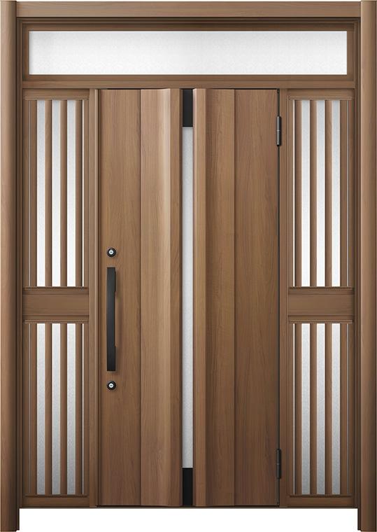 玄関ドア リシェント3 断熱仕様 K2 G13型 両袖ランマ付飾り中桟付ポスト無 W:1,080~1,695mm × H:2,301~2,600mm リクシル トステム