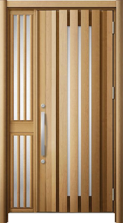 玄関ドア リシェント3 断熱仕様 K2 G14型 片袖飾り中桟付ポスト無ドア W:1,227~1,336mm × H:2,040~2,439mm リクシル トステム
