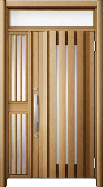 玄関ドア リシェント3 断熱仕様 ランマ付 K4 G14型 片袖飾り中桟付ポスト無ドア W:1,227~1,336mm × H:1,974~2,300mm リクシル トステム