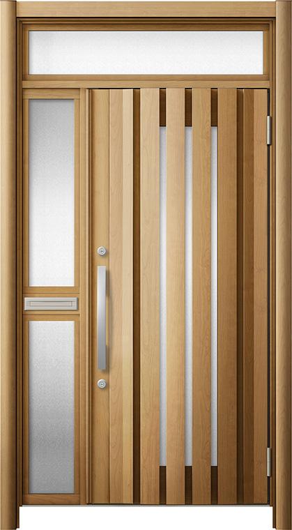 玄関ドア リシェント3 断熱仕様 ランマ付 K4 G14型 片袖中桟付ポスト付ドア W:1,227~1,336mm × H:2,301~2,600mm リクシル トステム