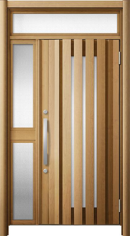 玄関ドア リシェント3 断熱仕様 ランマ付 K4 G14型 片袖中桟付ポスト無ドア W:1,227~1,336mm × H:1,974~2,300mm リクシル トステム