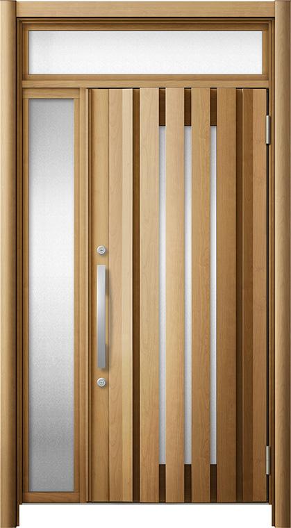 リシェント 玄関ドア3 断熱仕様 / 非防火 K2 G14型 木目調 片袖ランマ付 特注サイズ W:1,086~1,397mm × H:1,974~2,600mm カバー工法 LIXIL TOSTEM