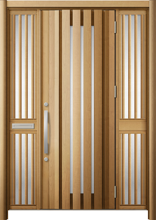 玄関ドア リシェント3 断熱仕様 K4 G14型 両袖飾り中桟付ポスト付 W:1,530~1,695mm × H:2,040~2,439mm Dw:864mm リクシル トステム