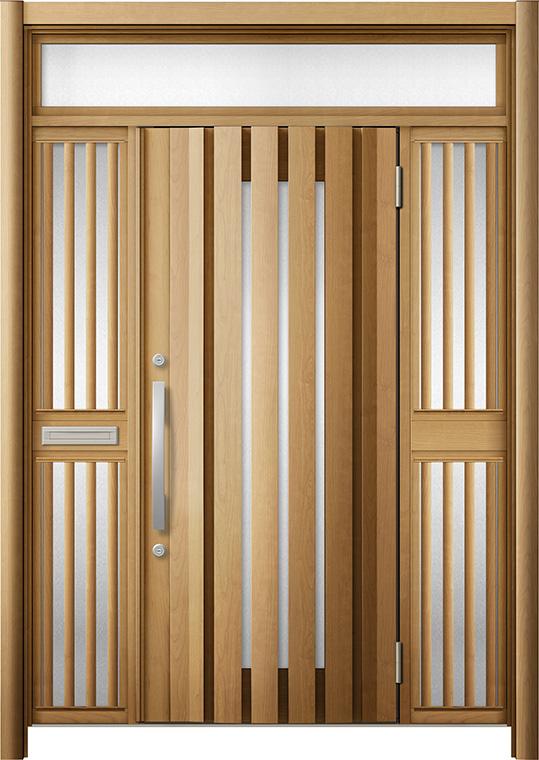 玄関ドア リシェント3 断熱仕様 K4 G14型 両袖ランマ付飾り中桟付ポスト付 W:1,530~1,695mm × H:2,301~2,600mm Dw:864mm リクシル トステム