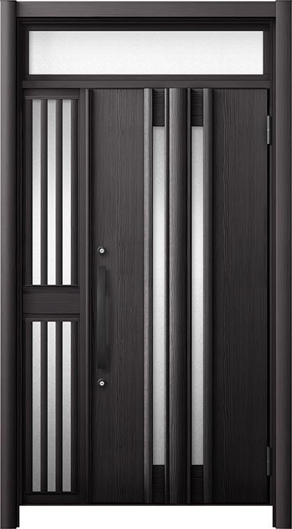 玄関ドア リシェント3 断熱仕様 ランマ付 K4 G15型 片袖飾り中桟付ポスト無ドア W:1,013~1,336mm × H:1,974~2,300mm リクシル トステム
