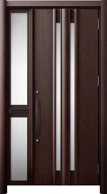 玄関ドア リシェント3 断熱仕様 K2 G15型 片袖中桟付ポスト付ドア W:1,013~1,336mm × H:1,739~2,039mm リクシル トステム