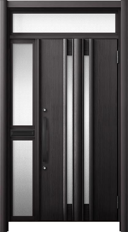 玄関ドア リシェント3 断熱仕様 ランマ付 K4 G15型 片袖中桟付ポスト付ドア W:1,013~1,336mm × H:2,301~2,600mm リクシル トステム