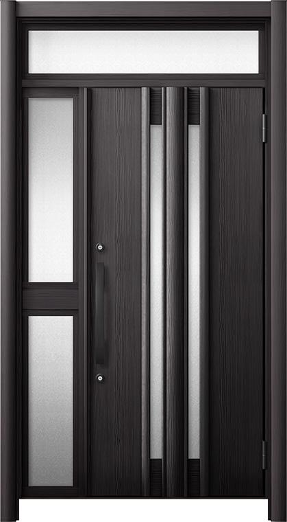 玄関ドア リシェント3 断熱仕様 ランマ付 K4 G15型 片袖中桟付ポスト無ドア W:1,013~1,336mm × H:1,974~2,300mm リクシル トステム