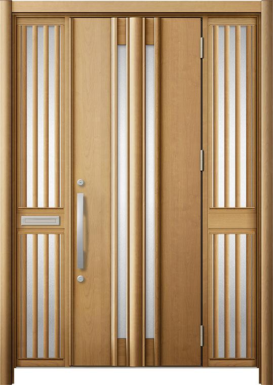 玄関ドア リシェント3 断熱仕様 K2 G15型 両袖飾り中桟付ポスト付 W:1,370~1,695mm × H:2,040~2,439mm リクシル トステム