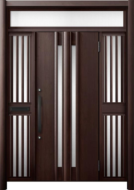 玄関ドア リシェント3 断熱仕様 K4 G15型 両袖ランマ付飾り中桟付ポスト付 W:1,370~1,695mm × H:1,974~2,300mm リクシル トステム
