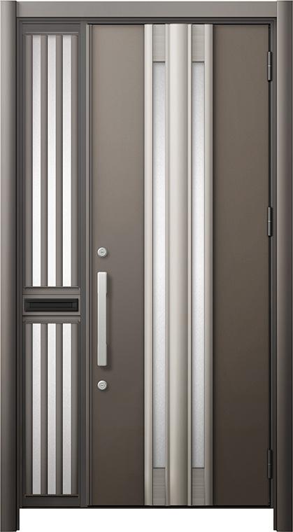 玄関ドア リシェント3 断熱仕様 K2 G77型 片袖飾り中桟付ポスト付ドア W:1,013~1,336mm × H:1,739~2,039mm リクシル トステム