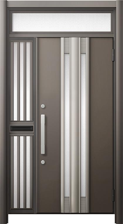 玄関ドア リシェント3 断熱仕様 ランマ付 K4 G77型 片袖飾り中桟付ポスト付ドア W:1,013~1,336mm × H:1,974~2,300mm リクシル トステム