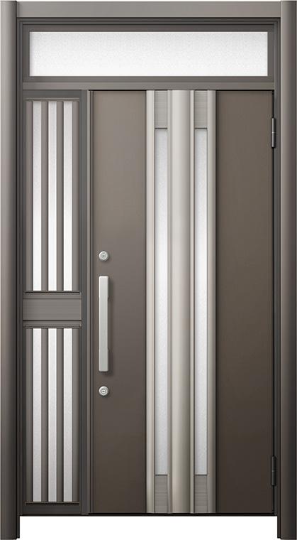 玄関ドア リシェント3 断熱仕様 ランマ付 K4 G77型 片袖飾り中桟付ポスト無ドア W:1,013~1,336mm × H:1,974~2,300mm リクシル トステム