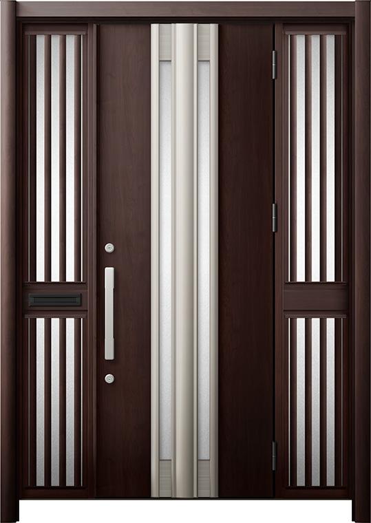 玄関ドア リシェント3 断熱仕様 K4 G77型 両袖飾り中桟付ポスト付 W:1,370~1,695mm × H:1,739~2,039mm リクシル トステム