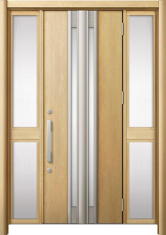 世界的に リシェント 玄関ドア3 断熱仕様 / 非防火 K4 G77型 木目調 両袖 中桟付ポスト無し 特注サイズ W:1,030~1,695mm × H:1,739~2,439mm カバー工法 LIXIL TOSTEM, nomnom fcd83352