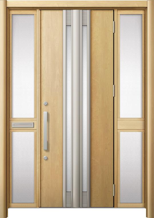 玄関ドア リシェント3 断熱仕様 K2 G77型 両袖中桟付ポスト付 W:1,370~1,695mm × H:1,739~2,039mm リクシル トステム