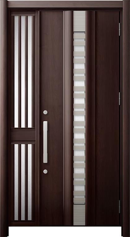 玄関ドア リシェント3 断熱仕様 K2 G82型(採風タイプ) 片袖飾り中桟付ポスト無ドア W:1,113~1,336mm × H:2,040~2,350mm リクシル トステム