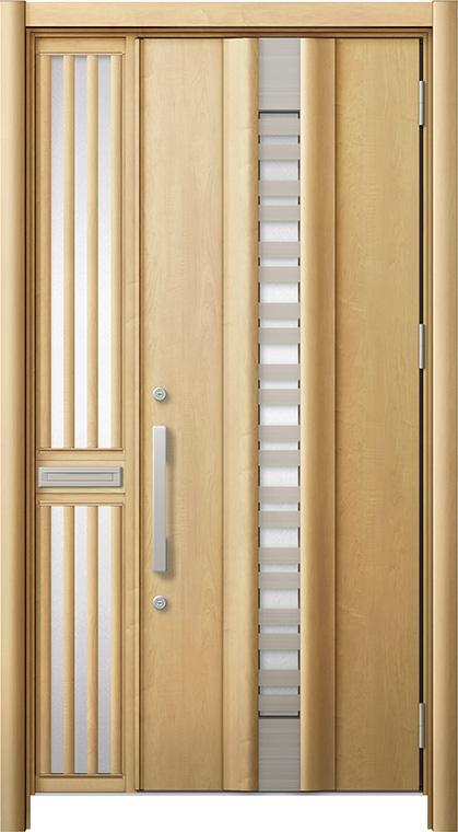 玄関ドア リシェント3 断熱仕様 K2 G82型(採風タイプ) 片袖飾り中桟付ポスト付ドア W:1,113~1,336mm × H:2,040~2,350mm リクシル トステム