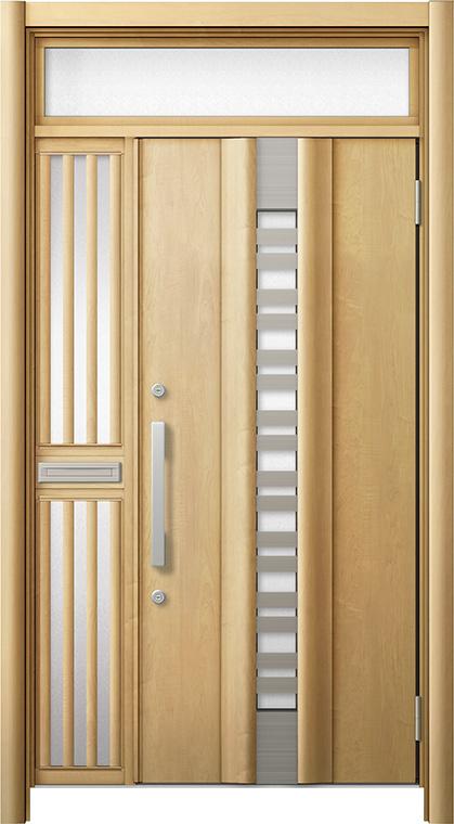 玄関ドア リシェント3 断熱仕様 ランマ付 K4 G82型(採風タイプ) 片袖飾り中桟付ポスト付ドア W:1,113~1,336mm × H:2,301~2,600mm リクシル トステム