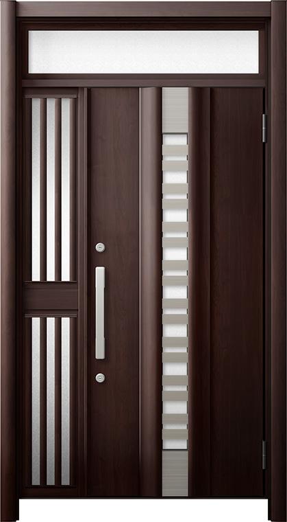 玄関ドア リシェント3 断熱仕様 ランマ付 K4 G82型(採風タイプ) 片袖飾り中桟付ポスト無ドア W:1,113~1,336mm × H:2,074~2,300mm リクシル トステム