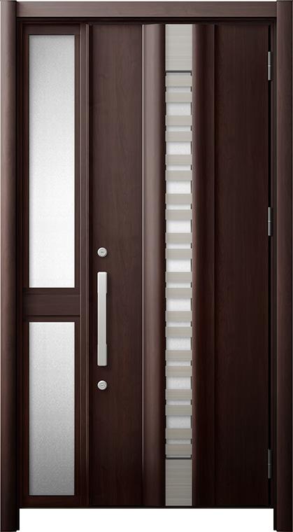 玄関ドア リシェント3 断熱仕様 K2 G82型(採風タイプ) 片袖中桟付ポスト無ドア W:1,113~1,336mm × H:2,040~2,350mm リクシル トステム