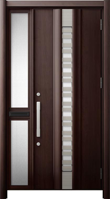 玄関ドア リシェント3 断熱仕様 K2 G82型(採風タイプ) 片袖中桟付ポスト付ドア W:1,113~1,336mm × H:1,840~2,039mm リクシル トステム