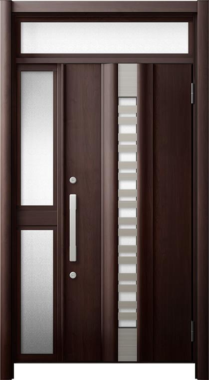 玄関ドア リシェント3 断熱仕様 ランマ付 K4 G82型(採風タイプ) 片袖中桟付ポスト無ドア W:1,113~1,336mm × H:2,074~2,300mm リクシル トステム