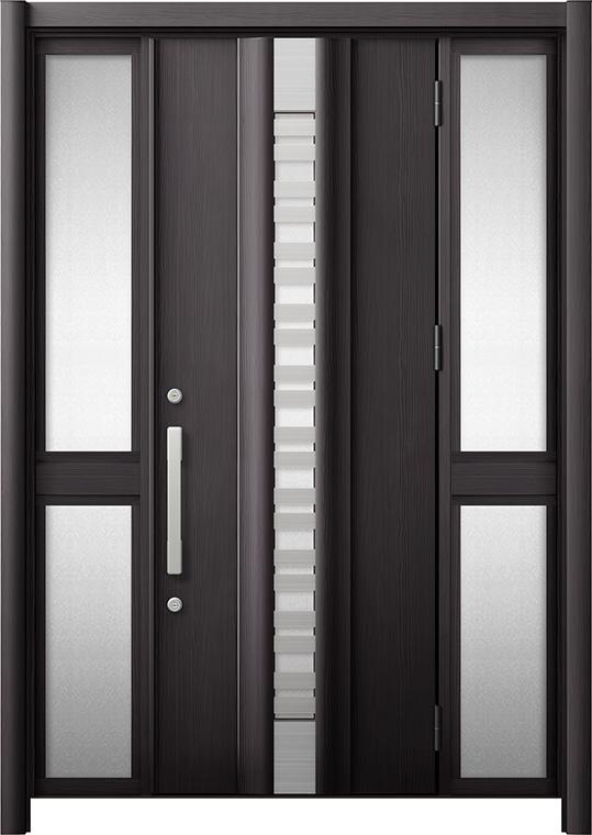 玄関ドア リシェント3 断熱仕様 K4 G82型(採風タイプ) 両袖中桟付ポスト無 W:1,130~1,695mm × H:1,840~2,039mm リクシル トステム