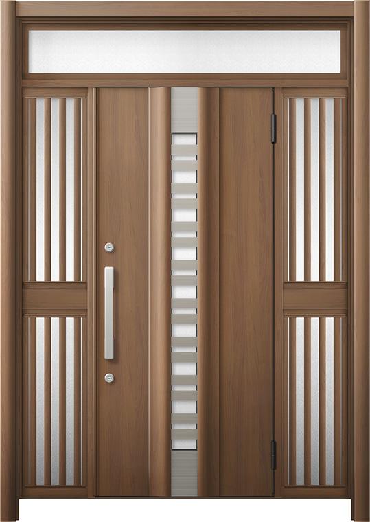 玄関ドア リシェント3 断熱仕様 K4 G82型(採風タイプ) 両袖ランマ付飾り中桟付ポスト無 W:1,130~1,695mm × H:2,301~2,600mm リクシル トステム